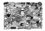 Big 700x500mm Size LANDSCAPE Format With Black & White Euro Style VW Icons Etc. Premium Quality Vinyl Car Sticker Bombing Sheet